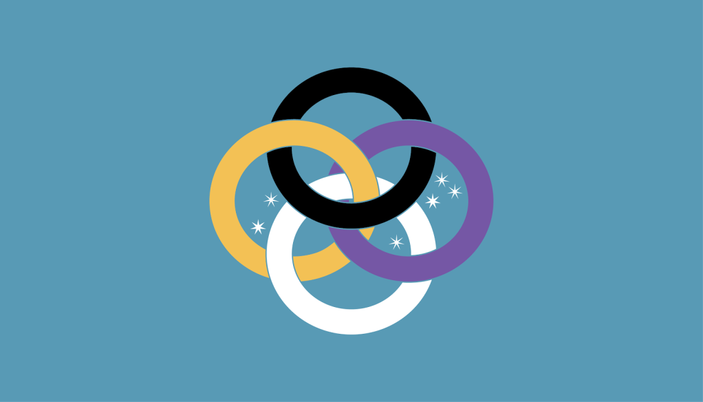 Four rings intersect each other on a blue background. Top black, bottom white, left gold, and right pale violet. Stars are scattered inside the rings.