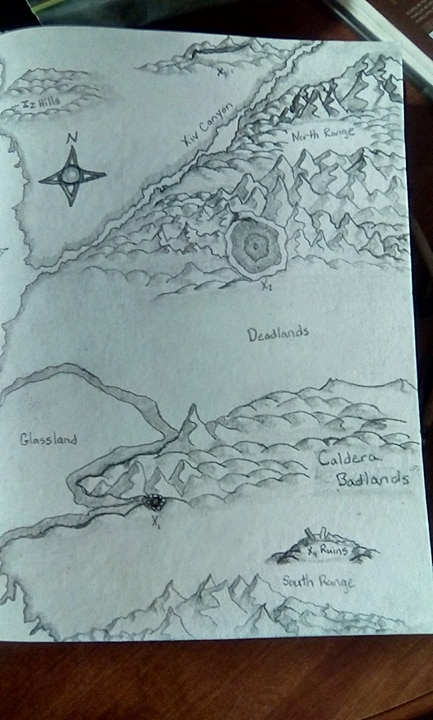Handdrawn Alien Desert world with mountains in the northwest, hills to the north east, flatlands in the middle, and badlands and mountains to the south.
