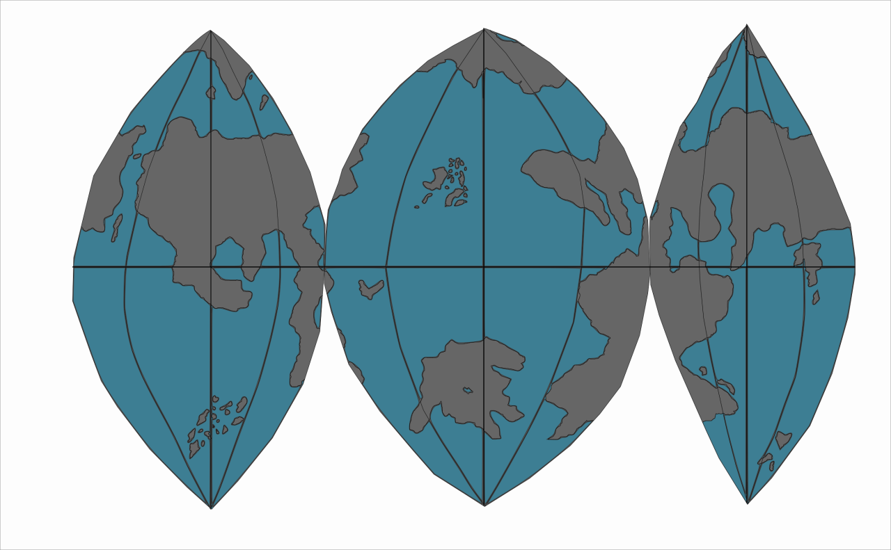 Sinusodial vector drawing of the surface of Elivera. Light blue marks the ocean and white marks the landmasses.