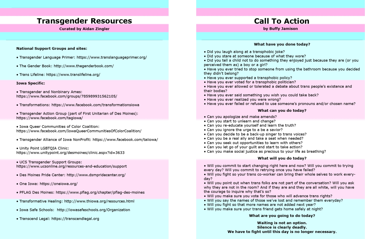 Iowa-specific trans resources and call to action
